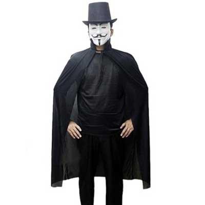 com máscara do V de vingança